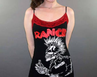 Rancid Red Lace Punk Rock Slip Mini Dress Band Merch Music Tshirt Tim Armstrong Brody Dalle Offspring Ramones Misfits Green Day Goth Clothes