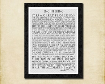 Engineering - Herbert Hoover -  Gift for Man - 18x24, 1.5 inches thick Gallery Wrapped Canvas Word Art Print