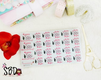 Planner Stickers - Date Night & Anniversary Stickers 007