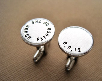 Father of the Groom Cufflinks - Wedding date Cufflinks - Personalized Hand stamped Cuff links