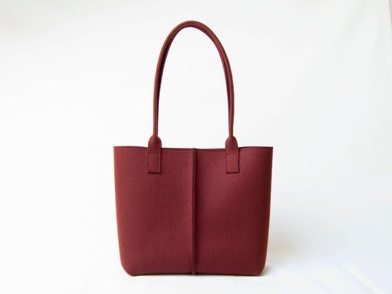 Wool Felt TOTE BAG / maroon tote bag / burgundy bag / womens bag / felt shoulder bag / carry all bag / made in Italy