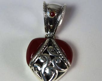 Sterling Silver Red Heart Pendant