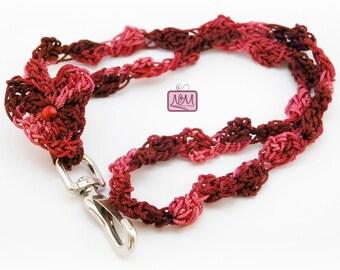 Crochet Heart Woven Lanyard ID Badge Holder, Burgundy Colour, Crochet Keychain, Gift For Her, Gifts For Home, Key FOB, Crochet Lanyard, Clip