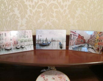 Set of 3 coasters reproductions in place of my original watercolor of Venice