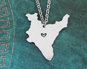 India Necklace India Jewelry India Pendant Country Necklace Indian Gift Long Distance Relationship India Charm Personalized Heart Necklace