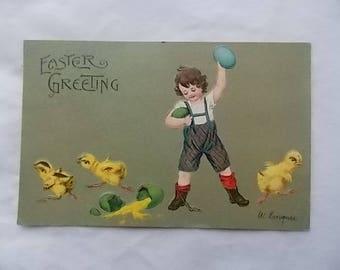 Vintage 1908 Easter Postcard Bratty Boy Smashes Eggs Langner