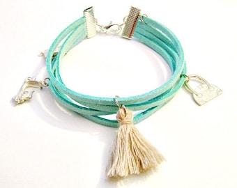 Green pastel boho chic bracelet