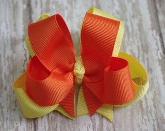 "Hair Bows Custom Set of 2 Boutique 4"" Double Layered Hairbows You Choose Colors"