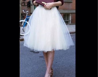 White Tulle Skirt Bridesmaid Flower Girl Skirt Wedding Dress Tutu Ballet