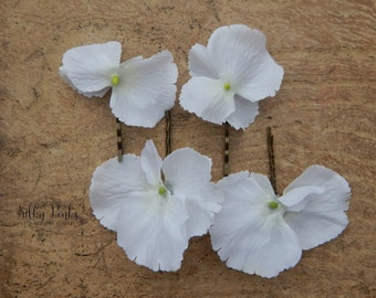 Wedding Hair Accessories -Set of Hydrangea Hair Pins - Floral Bobby Pins - Bridal Hair Accessories - Floral Hair Accessories