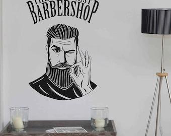Barbershop wall decal sign logo mural Barbershop Logo Sticker BarberShop Window Decal Barber's Logo Mural Hair Salon Wall Decals kik3256