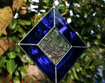 Stained Glass Suncatcher Diamond Blue Gift Made in Ireland Window Decoration