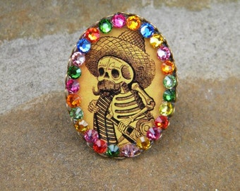 Day of The Dead ring with image of Katrine wearing serape and sombrero