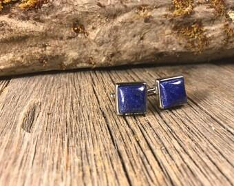 French Cufflink: Lapis Lazuli, 14/17mm, square