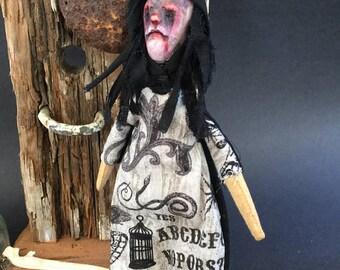 Klopp Kids Original OOAK Creepy Witch Art Doll Macabre Handmade Horror Figure Weird Gothic Witchcraft Ouija Board Bad JuJU
