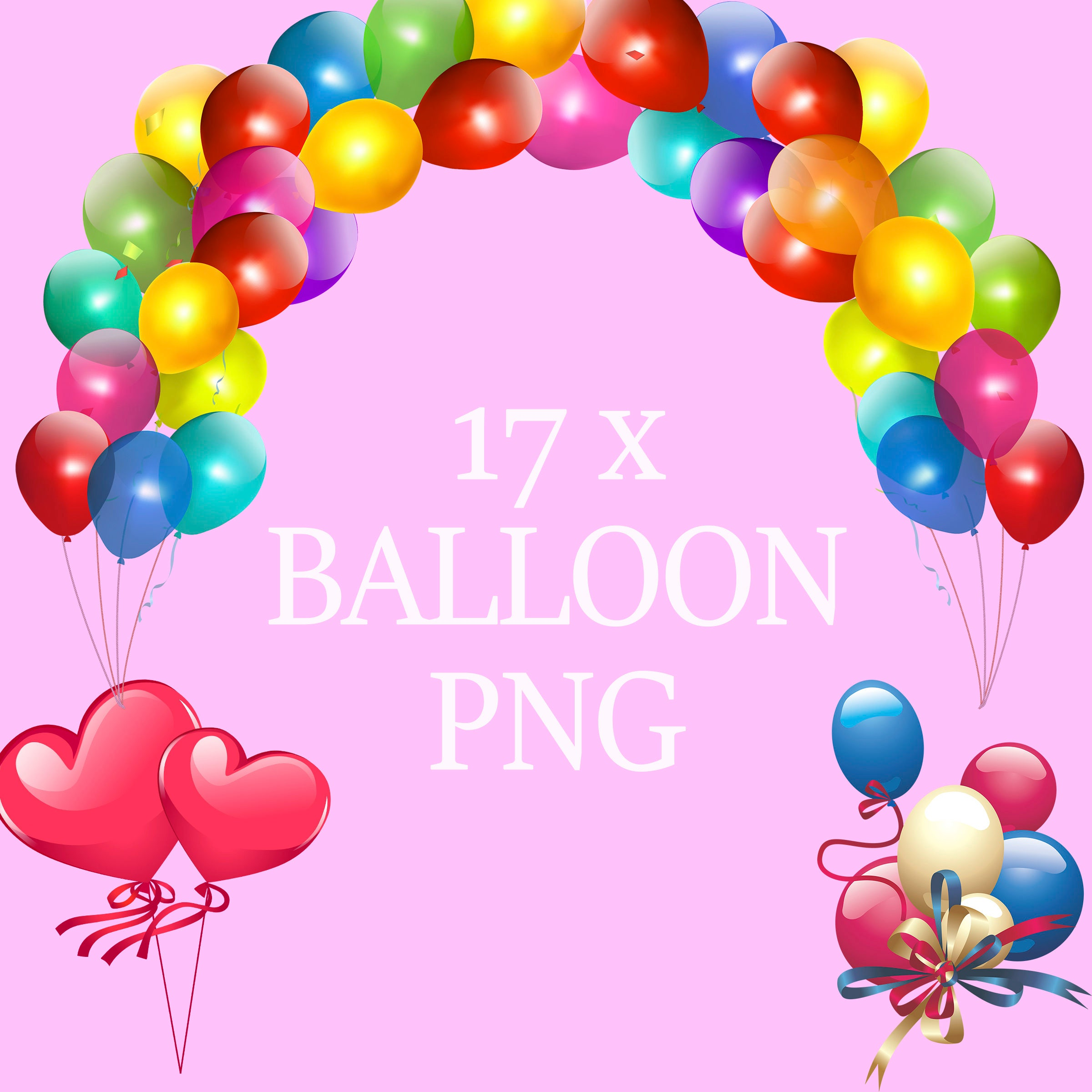 Balloon clip art overlays birthday invitations party