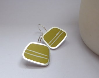 Yellow Earrings - Striped Sulphur Yellow Earrings - Square Silver Earrings - Gift for Sister - Graphico Striped Earrings