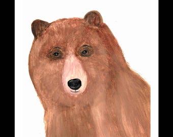 Bear watercolour painting Bear art Bear artwork, Bear illustration woodland animal art nursery art 9 x 12 inches