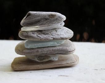 Bois flotté zen & mer verre Sculpture, plage étagère Accent, décoration de sirène, côtières Fine Art