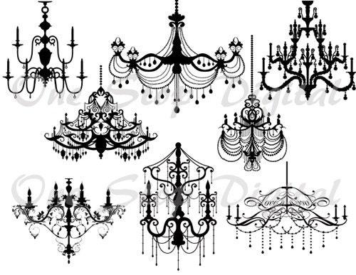Instant download digital black chandelier clip art zoom mozeypictures Choice Image