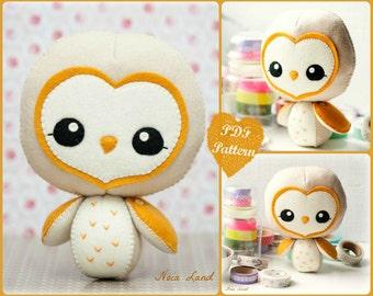 PDF. Barn owl.  Softie Pattern, Soft felt Toy Pattern.