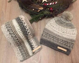 Winter Hat & Scarf Set, wanderlust Beanie, pom pom hat, cream hat and scarf