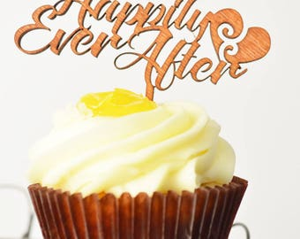 Cupcake Topper; Wedding - Happily Ever After