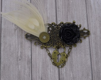Steampunk padlock pink Black White Peacock feather hair clip