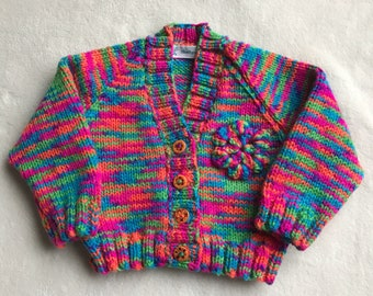 Baby cardigan, knitted baby cardigan, rainbow baby sweater, knitted baby sweater, knitted baby clothes, 0-3 month baby cardigan, baby knits
