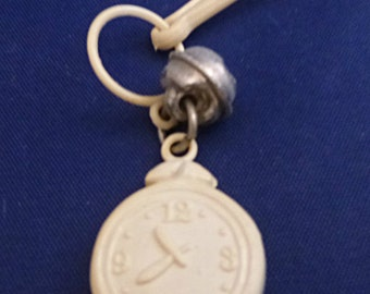 Vintage Alarm Clock Clip-On Charm with Bell for Zipper or Children's Necklace, 1980s