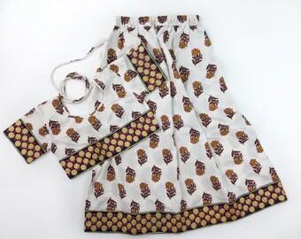 6 Years Skirt SET, Frida Block Print Crop Top and Maxi Skirt, Hippie Toddler Skirt, Toddler Crop Set, Frida Kahlo Birthday Party