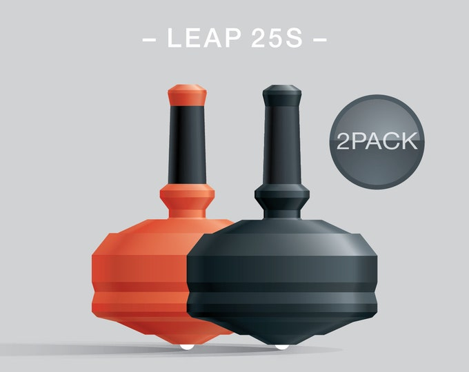 Leap 25S 2Pack Orange-Black – Value-priced set of spin tops with dual ceramic tip and rubber grip