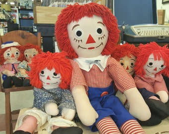 """Vintage 36 1/2"""" Large Handmade Raggedy Andy Doll, Raggedy Ann Collectibles"""