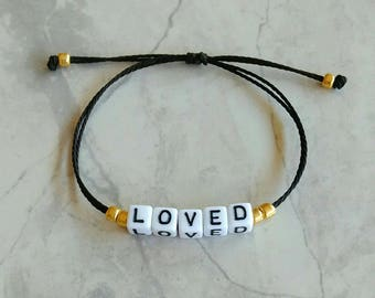 Custom Word Gold And Black Bracelet / Waterproof and Adjustable