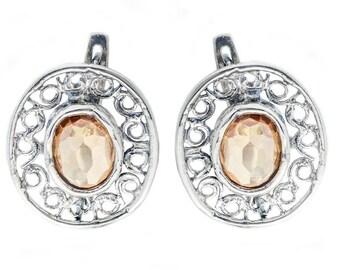 Silver Earrings, Champagne CZ Earrings, Sterling Silver Earrings, Silver Jewelry