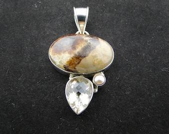 Sterling Silver Jasper Citrine and Pearl Pendant