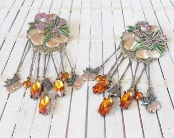 Vintage Banana Bob Fruit Clip Earrings, Rhinestone Dangles, Runway style, Stage jewelry, Long earrings, Peachy Keen, Statement earrings