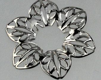 20 pièces de bronze à Canon fini 6 fleur d'Hibiscus feuille filigrane focal L:ink - 23 mm