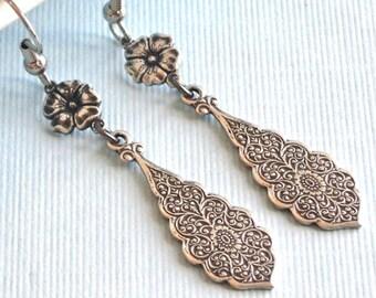 Silver Drop Earrings - Embossed, Flower Earrings