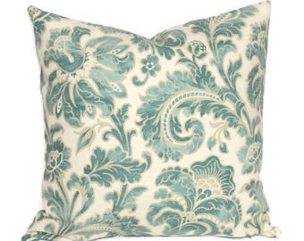 Farmhouse Cottage Pillow, Aqua Blue Tan Throw Pillow Cushion Cover French Country Floral Decor Decorative Accent Lumbar Toss // All Sizes