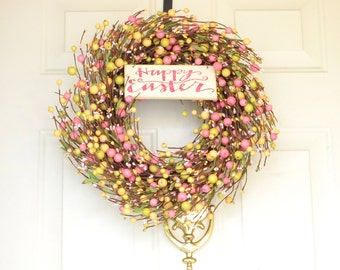 Easter Egg Wreath Bright Pink Yellow Green Easter Front Door Happy Easter sign