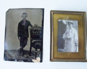 2 antique photos, including tin  (#EV212)