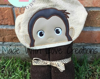 Curious Monkey Inspired Hooded Towels