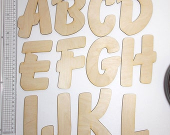 Wood letter A - Z for wall decoration, 12 cm high selectable room doors