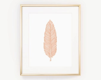 Peach Wall Decor, Coral Wall Art, Bohemian Decor, Boho Art Print, Feather Poster, Office Wall Art, Gift Idea, Orange, Printable Feather Art