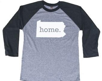 Homeland Tees Pennsylvania Home Tri-Blend Raglan Baseball Shirt