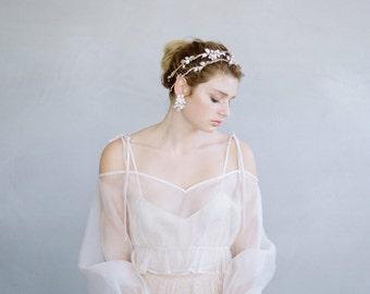 Bridal hair vine - Enamel flower and rhinestone extra long hair vine - Style 744 - Ready to Ship