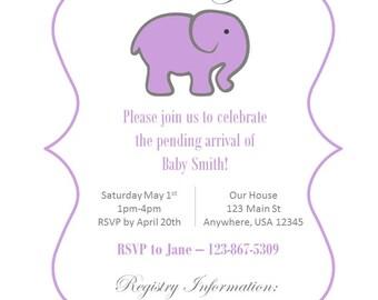 Custom Elephant Baby Shower Invitation Printable