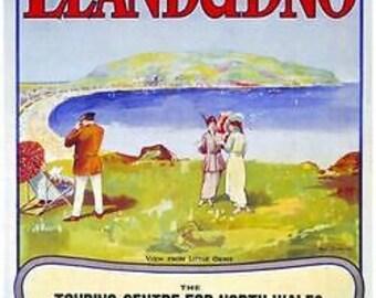 Edwardian LNWR Llandudno North Wales Railway Poster A3 Reprint