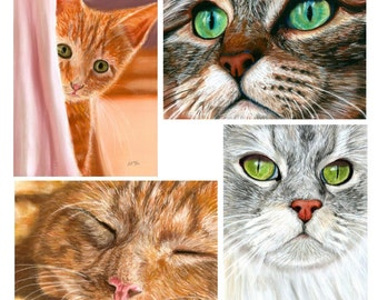 Set of 4 Cat Painting Prints, Art Print, Home Decor, Pet, Cat, Fine Art, Pastel, Painting, Reproduction, Realism, 5 x 7
